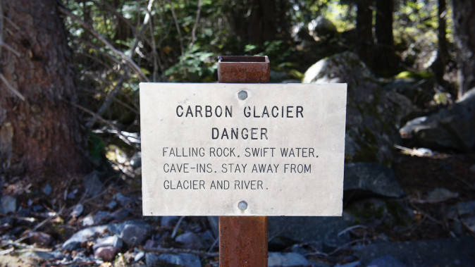 Carbon Glacier danger warning on the Wonderland Trail, Mount Rainier National Park