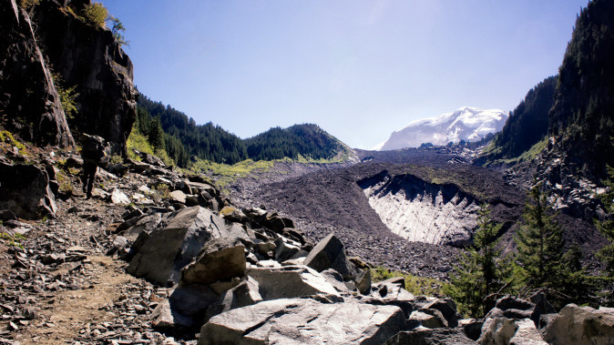 Carbon Glacier from the Wonderland Trail, Mount Rainier