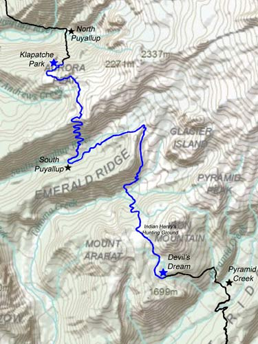 Devils Dream to Klapatche Park - Wonderland Trail Map
