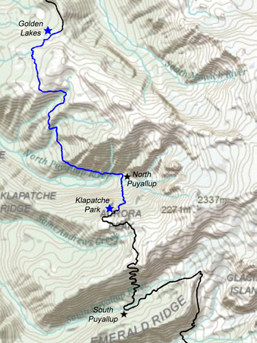 Klapatche Park to Golden Lakes Map - Wonderland Trail Guide