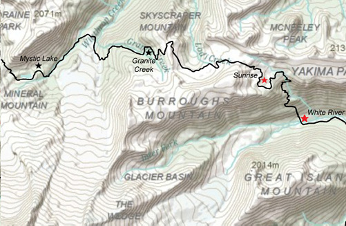 Mystic Lake to Sunrise Map - The Wonderland Trail Book