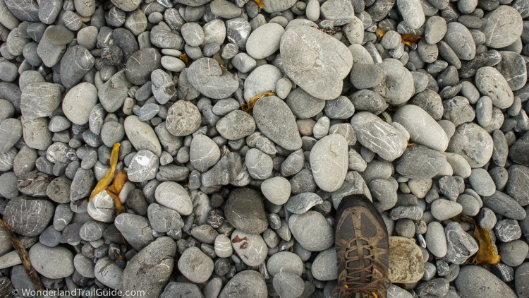 Beach rocks on the Lost Coast Trail make hiking slow and difficult.